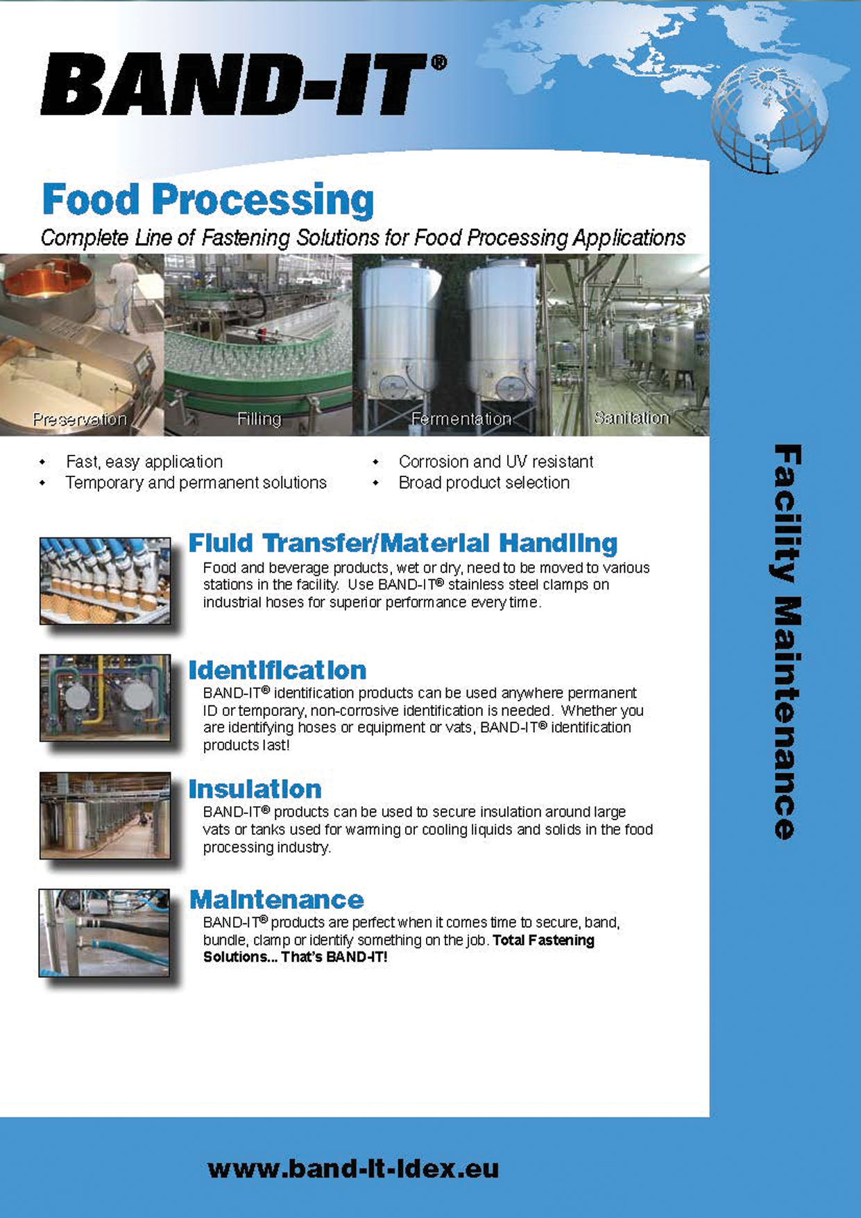 Food Processing - Complete Line of Fastening Solutions for Facility Maintenance Applications
