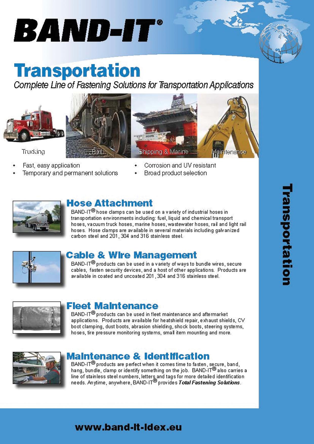 Transportation Industry - Complete Line of Fastening Solutions for Transportation Applications