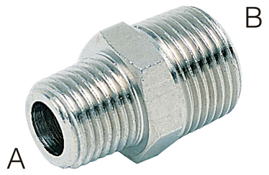 "AIGNEP - REDUCING CONNECTOR - BSPT MALE THREAD (A): 1/4"" BSPT, THREAD (B): 3/8"" BSPT - Part number A220-14-38"