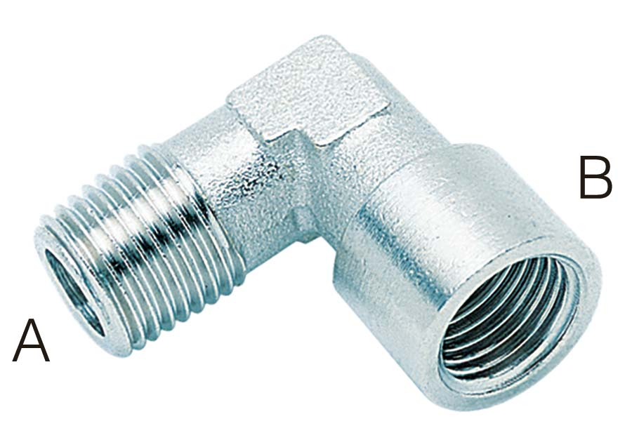 """ELBOW - BSPT MALE/ BSPP FEMALE MALE (A): 1/4"""" BSPT, FEMALE (B): 1/4"""" BSPP - Part number A520-1/4"""