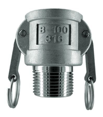 """PARKAIR - BSPP FEMALE COUPLER X BSPT MALE END - STAINLESS STEEL SIZE: 1/2"""", WORKING PRESSURE: 10.3 bar - Part number AH-B050-S"""