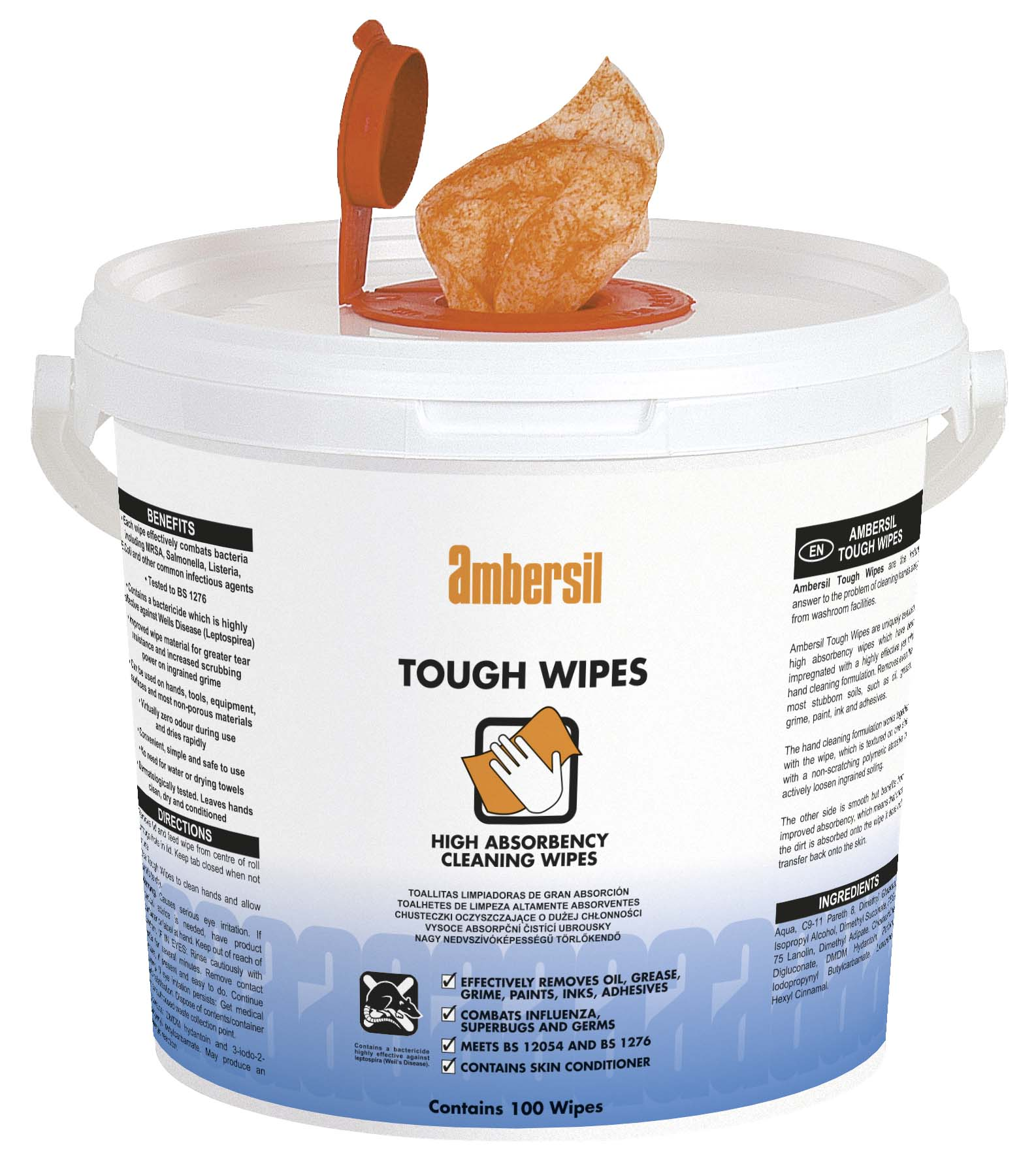 AMBERSIL - TOUGH WIPES Tough Wipes (Pack of 100 Wipes) - Part number AMB-30767-100