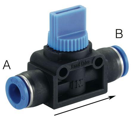 CDC - HVU - STRAIGHT UNION VALVE TUBE OD (A): 12 mm, TUBE OD (B): 12 mm - Part number CDHVU1212