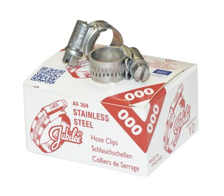 JUBILEE - 304 GRADE STAINLESS STEEL CLIPS - PRICE PER CLIP J OOOSS TO J 3SS: SUPPLIED IN BOXES OF 10 J 3XSS TO J 12 1/2SS: SUUPLIED SINGULARLY CLAMPING RANGE: 11 - 16 mm, BAND WIDTH: 9.9 mm - Part number J MOOSS