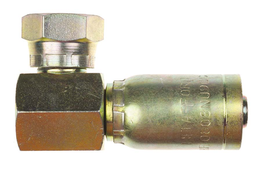 """3//8/"""" Compact 90 Degree BSP One Piece Hydraulic Hose Fittings"""