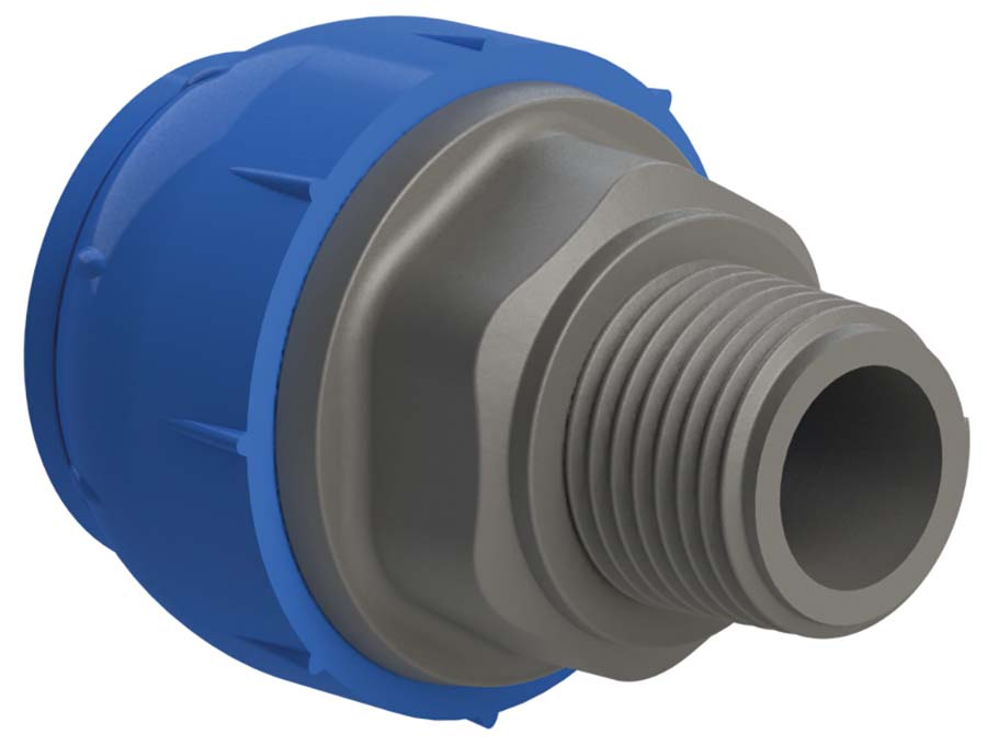 """SICOMAT - MALE STRAIGHT CONNECTOR PIPE SIZE: 15 mm, THREAD: 1/2"""" - Part number rR211015012"""